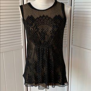 Ellie Tahari  black lace sleeveless top